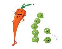 Grappige leuke groenten - Wortel, Erwten Stock Afbeelding