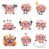 Grappige leuke hersenen de opleiding van en velen actie stock illustratie
