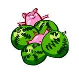 Grappige leuke kleuren vectorvarken en meloen stock illustratie