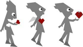 Grappige liefde-mens die op wit wordt geïsoleerdh vector illustratie