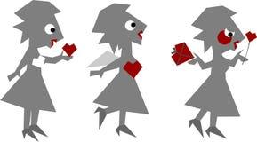 Grappige liefde-vrouw die op wit wordt geïsoleerdp stock illustratie