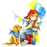 Grappige meisje en verjaardagsvakantieachtergrond De illustratie van de waterverf Stock Afbeelding
