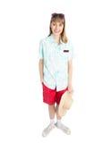 Grappige meisjestoerist in strohoed en zonnebril Stock Foto's