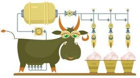Grappige melklandbouwbedrijf en koeillustratie Stock Foto