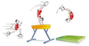 Grappige mens die gymnastiek doet Stock Foto's