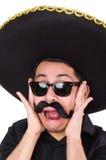 Grappige mens die Mexicaanse geïsoleerde sombrerohoed dragen Royalty-vrije Stock Afbeelding
