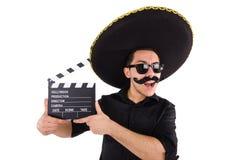 Grappige mens die Mexicaanse geïsoleerde sombrerohoed dragen Royalty-vrije Stock Foto's