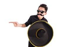 Grappige mens die Mexicaanse geïsoleerde sombrerohoed dragen Stock Afbeeldingen