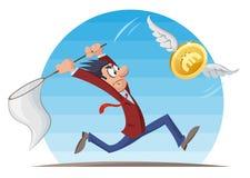 Grappige mens in kostuum die euro muntstuk met een netto vlinder proberen te vangen Stock Afbeeldingen