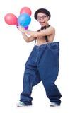 Grappige mens met ballons Stock Foto