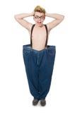 Grappige mens met broeken Stock Fotografie