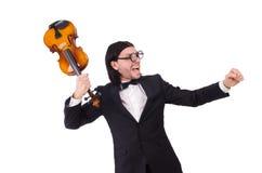 Grappige mens met muziekinstrument Royalty-vrije Stock Fotografie