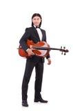 Grappige mens met muziekinstrument Stock Afbeelding