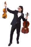 Grappige mens met muziekinstrument Royalty-vrije Stock Foto