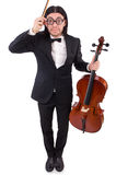Grappige mens met muziekinstrument Stock Foto
