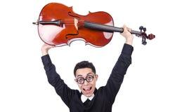 Grappige mens met viool Stock Foto