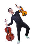 Grappige mens met viool Royalty-vrije Stock Afbeelding