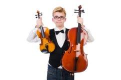 Grappige mens met viool Stock Afbeeldingen