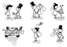 Grappige Mensen - huwelijk en onlangs-gehuwd Stock Afbeeldingen