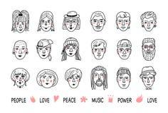 Grappige mensenavatars, Gezichten van mannen en vrouwen Krabbelportretten van mensen, Hand-drawn in hipstermeisjes en jongens royalty-vrije illustratie