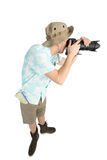 Grappige mensenfotograaf die beeld maken door camera Royalty-vrije Stock Afbeeldingen