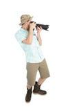 Grappige mensenfotograaf die beeld maken door camera Stock Fotografie