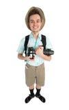 Grappige mensenfotograaf met camera en rugzak Stock Foto