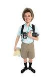 Grappige mensenfotograaf met camera en rugzak Royalty-vrije Stock Foto's