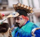 Grappige mensensaxofonist Royalty-vrije Stock Fotografie