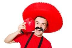 Grappige Mexicaan met geïsoleerde bokserhandschoenen Royalty-vrije Stock Afbeelding