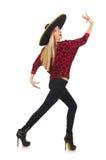 Grappige Mexicaanse vrouw die geïsoleerde sombrero dragen Royalty-vrije Stock Foto's