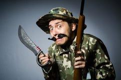 Grappige militair in militair Stock Afbeeldingen