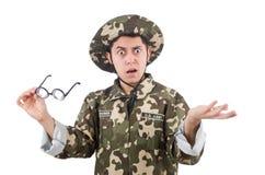 Grappige militair in militair Royalty-vrije Stock Afbeelding