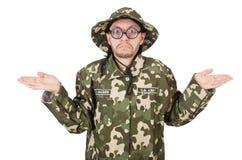 Grappige militair in militair Stock Foto's