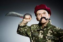 Grappige militair tegen Royalty-vrije Stock Afbeeldingen