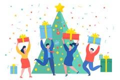Grappige mini bedrijfsmensen die dichtbij de Kerstboom dansen Nieuw jaar bedrijfsconcept stock illustratie