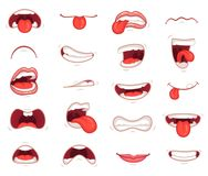 Grappige monden Gelaatsuitdrukkingen, beeldverhaallippen en tongen Hand de tekening die toont tong lachen, stelt de gelukkige en  Royalty-vrije Stock Foto
