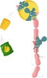 Grappige muis met voedsel Stock Foto's