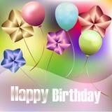 Grappige multicolored prentbriefkaar voor verjaardag met ballons Stock Foto's