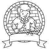 Grappige musicus of xylofoonspeler embleem vector illustratie