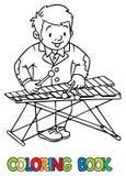 Grappige musicus of xylofoonspeler Kleurend boek vector illustratie