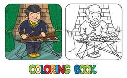 Grappige musicus of xylofoonspeler Kleurend boek stock illustratie