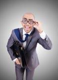 Grappige nerdzakenman op het wit Stock Foto's