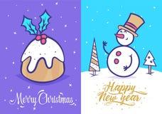 Grappige nieuwe jaarreeks De kaart van de achtergrond Kerstmisgroet affiche Vector illustratie stock illustratie