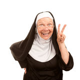 Grappige non die vredesteken maakt Royalty-vrije Stock Afbeelding