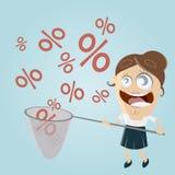 Grappige onderneemster die percententekens vangen Stock Afbeeldingen