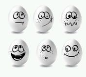 Grappige paaseieren Dit is beeld van grappige eieren op witte achtergrond Gezichten op de eieren vector illustratie