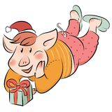 Grappige piggy het symbool van het Nieuwe jaar royalty-vrije illustratie