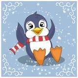 Grappige pinguïn het spelen sneeuwballen Stock Foto's