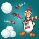 Grappige Pinguïn met Vissen en Sneeuwballen Stock Afbeeldingen